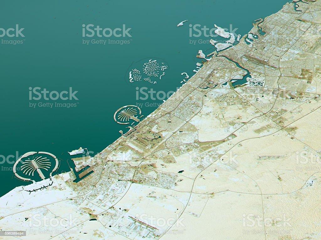 Dubai Topographic Map 3D Landscape View Natural Color stock photo