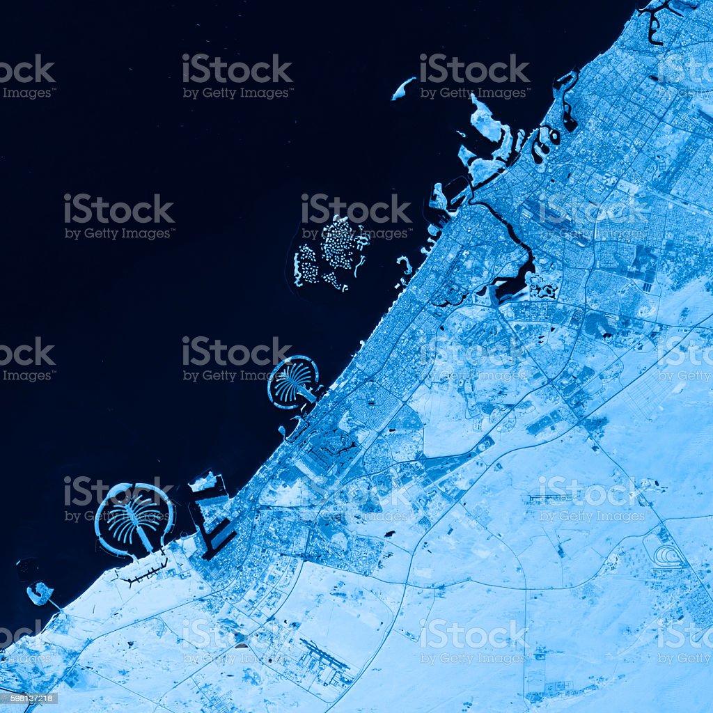 Dubai Topographic Map Blue Color Top View stock photo