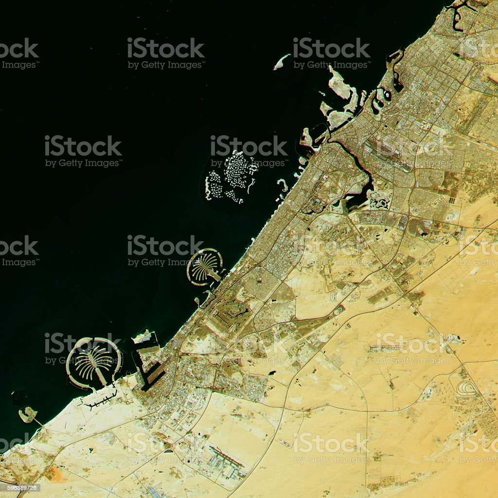 Dubai Topographic Map Natural Color Top View stock photo