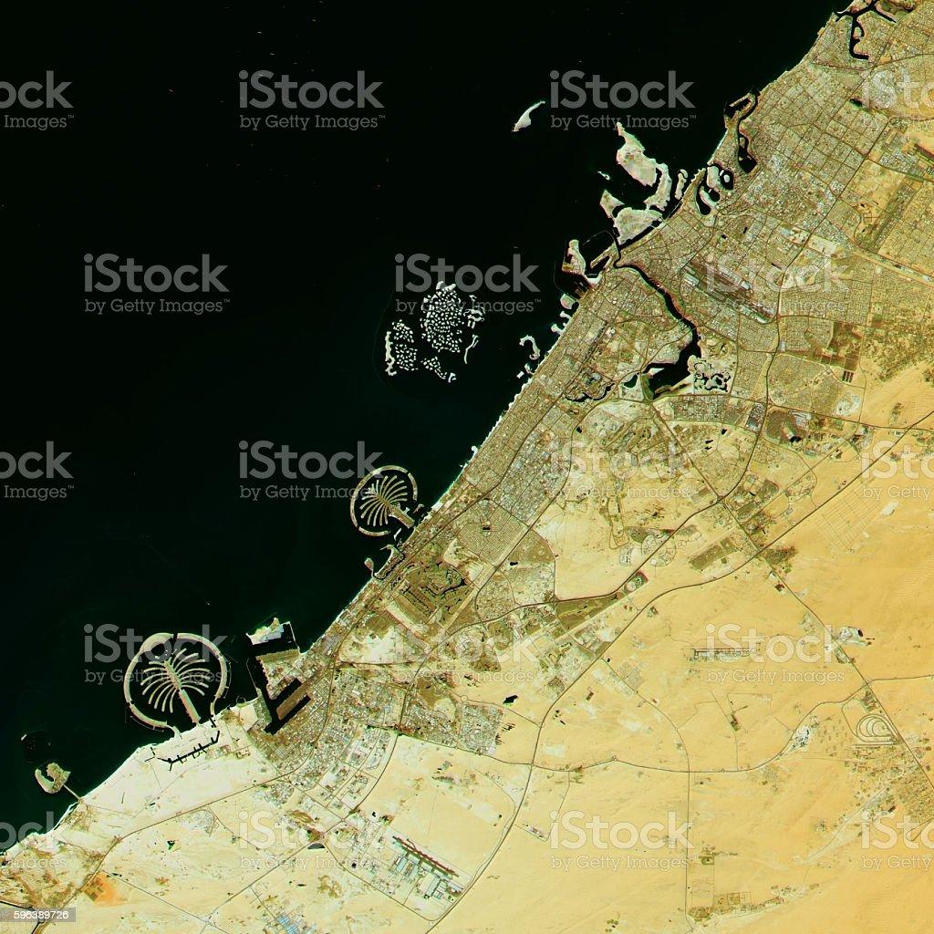 Dubai Topographic Map Natural Color Top View stock photo