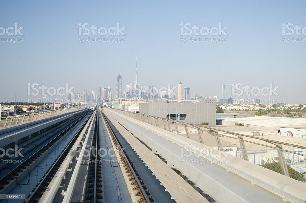 Dubai train ride stock photo