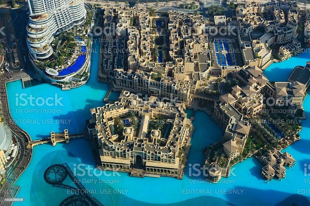 Dubai UAE: Aerial view of Souq and luxury hotels; opulence. stock photo