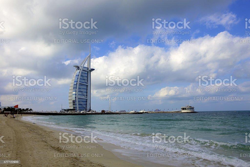 Dubai, UAE - Beach, Burj Al Arab on cloudy morning stock photo