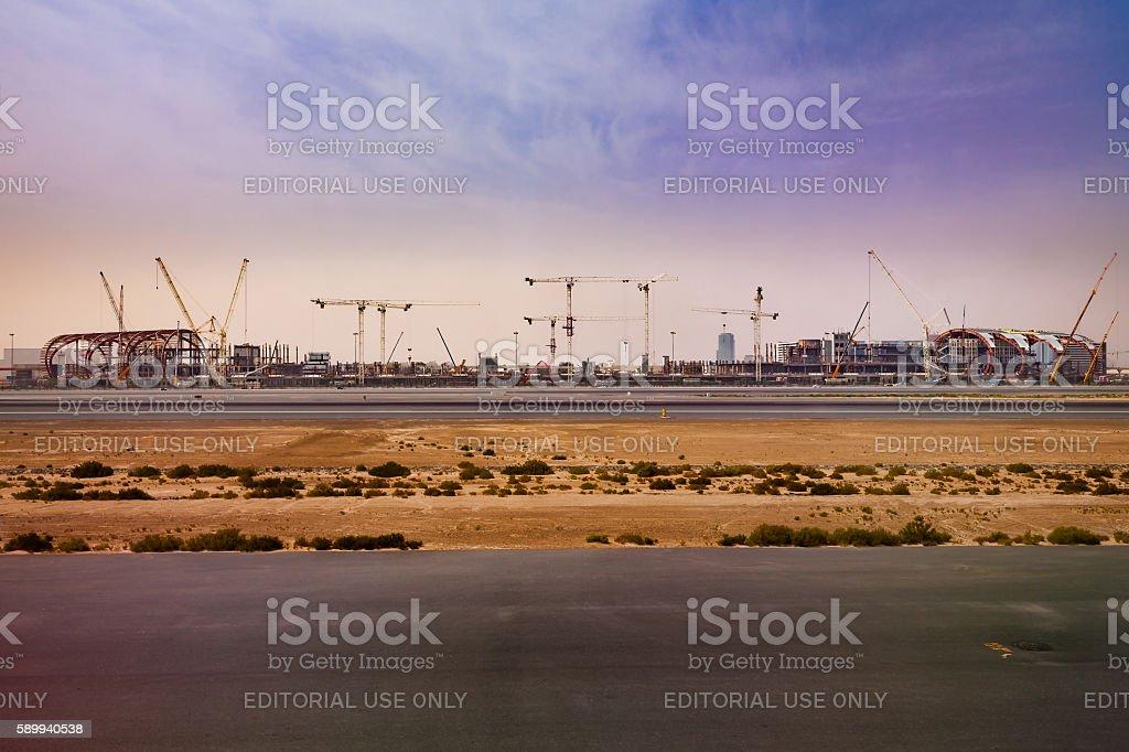 Dubai, UAE: Consruction of A380 Terminal at Dubai International Airport stock photo