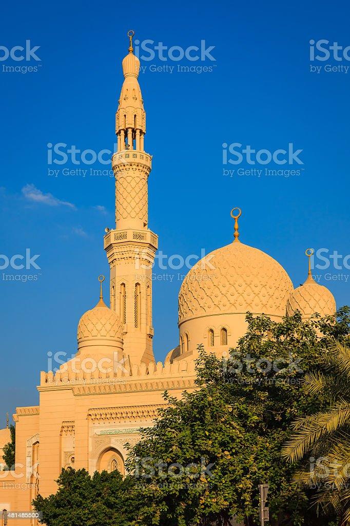 Dubai, UAE - Domes and minaret of mosque in Jumeirah. stock photo