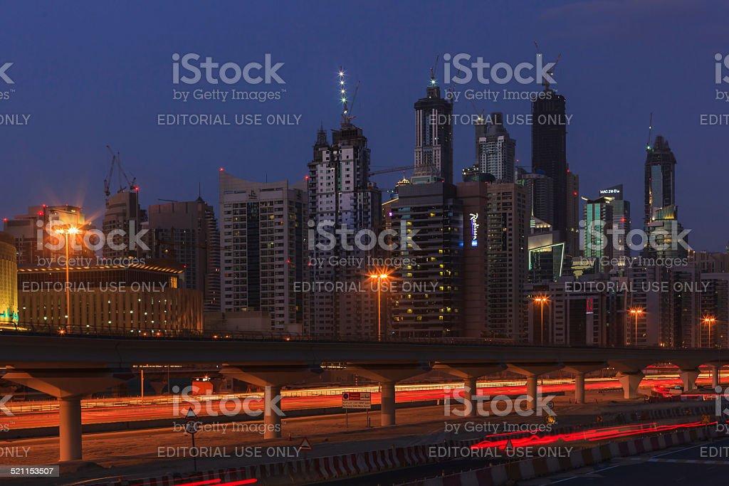 Dubai, UAE - Marina Towers during Blue Hour stock photo