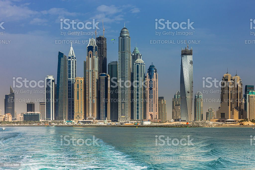 Dubai, UAE - Offshore view of towers on luxurious Marina stock photo
