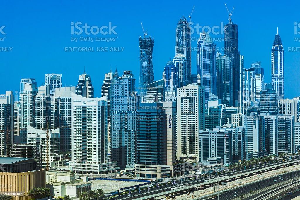 Dubai, UAE - Skyline of modern luxurious Marina stock photo