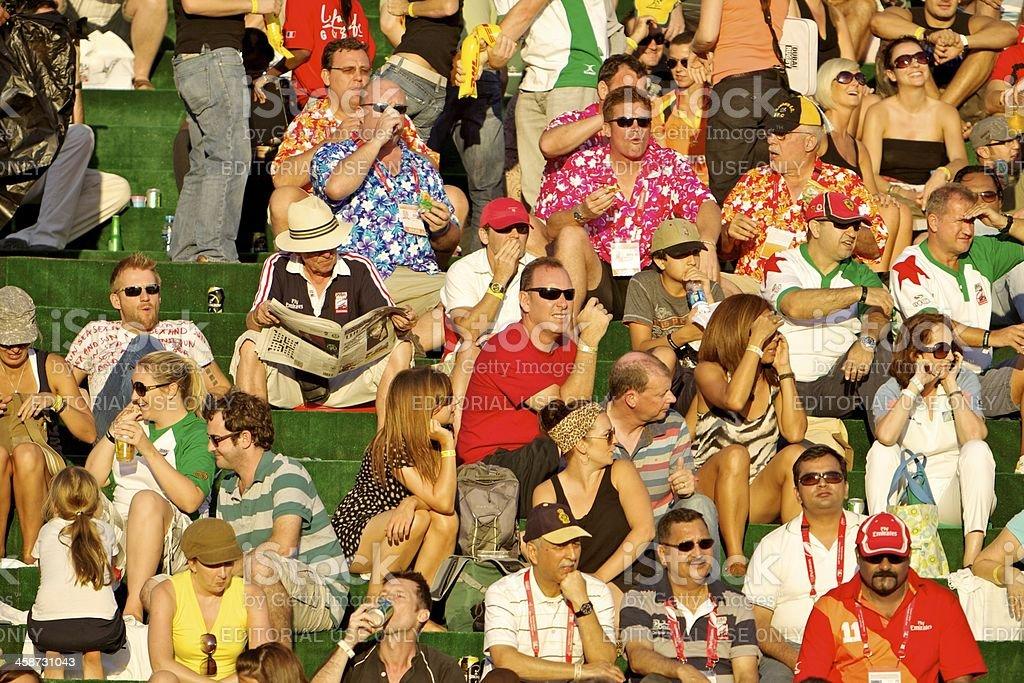 Dubai, UAE - Spectators at the Sevens royalty-free stock photo