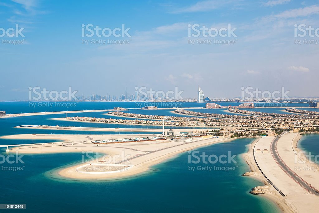 Dubai, UAE. The Palm island from above stock photo