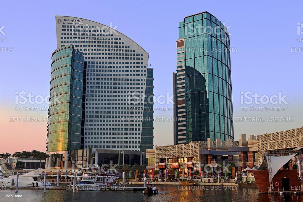 Dubai, UAE - Two Hotels at sunset stock photo