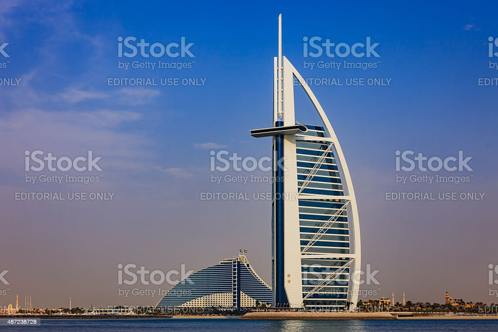 Burj Al Arab and Jumeirah Beach Hotels, Dubai UAE stock photo