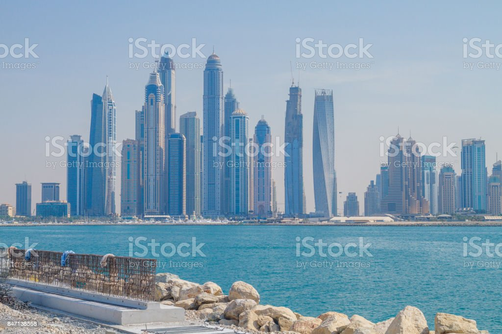 Dubai, UAE, Urban view,  sea. 2015 stock photo