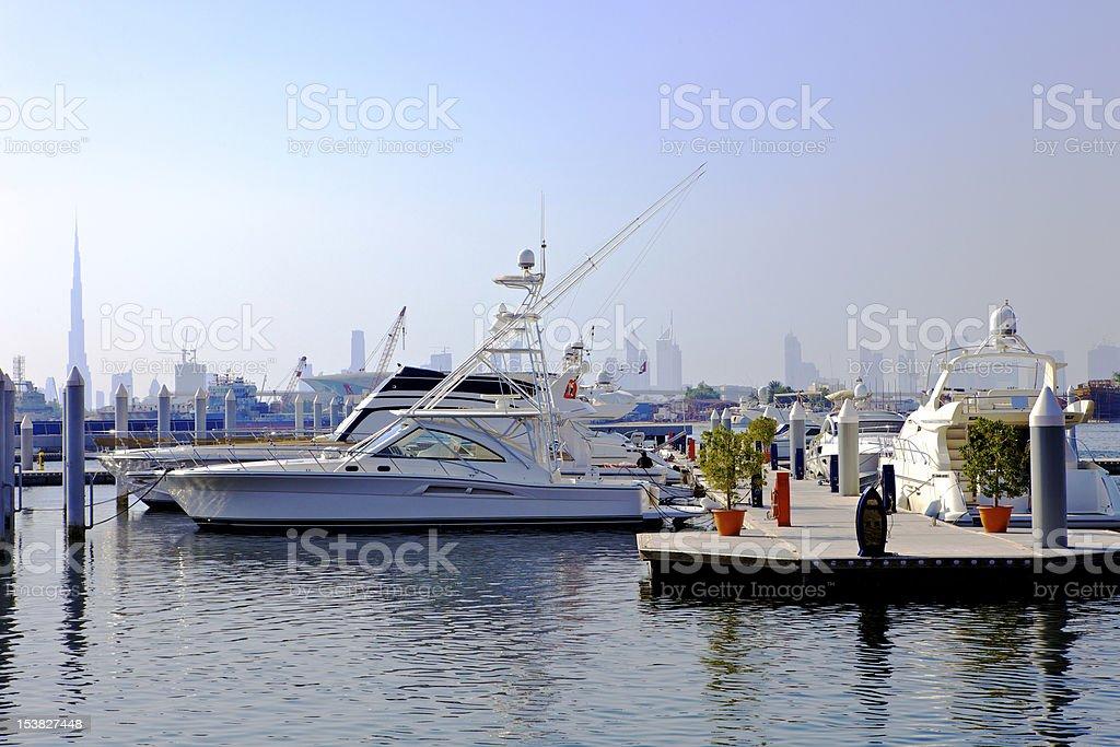Dubai, UAE - Yachts on the Creek royalty-free stock photo