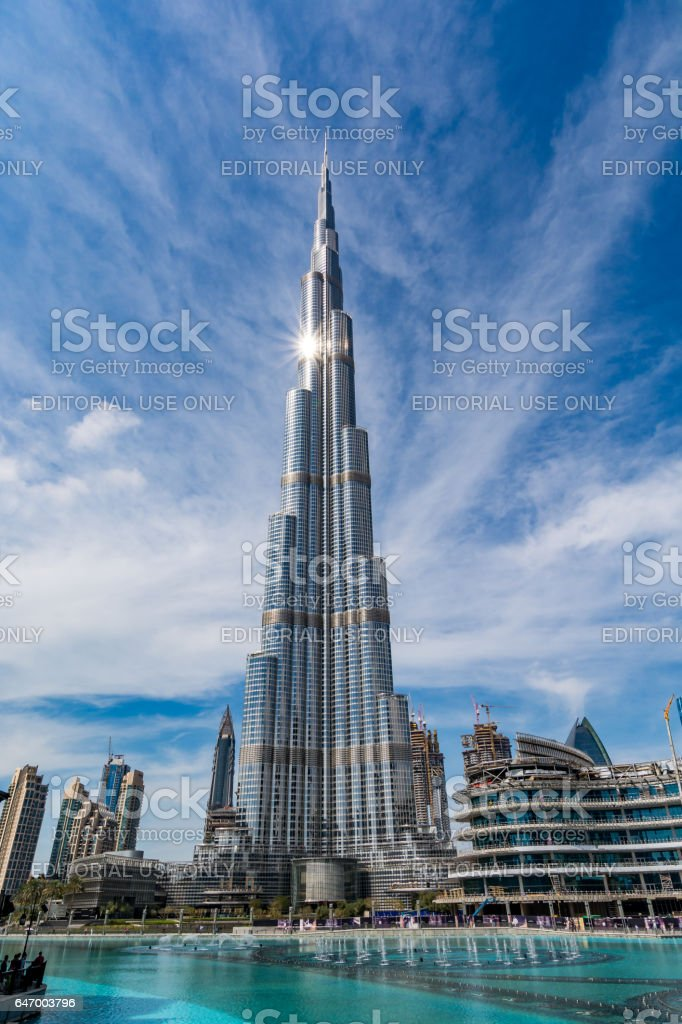 Dubai, United Arab Emirates - 06 February, 2017: View of Burj Khalifa, the highest building in the world, on a beautiful day stock photo