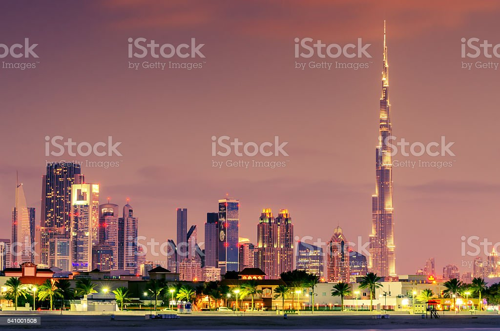 Dubai, United Arab Emirates: Downtown in the sunset stock photo