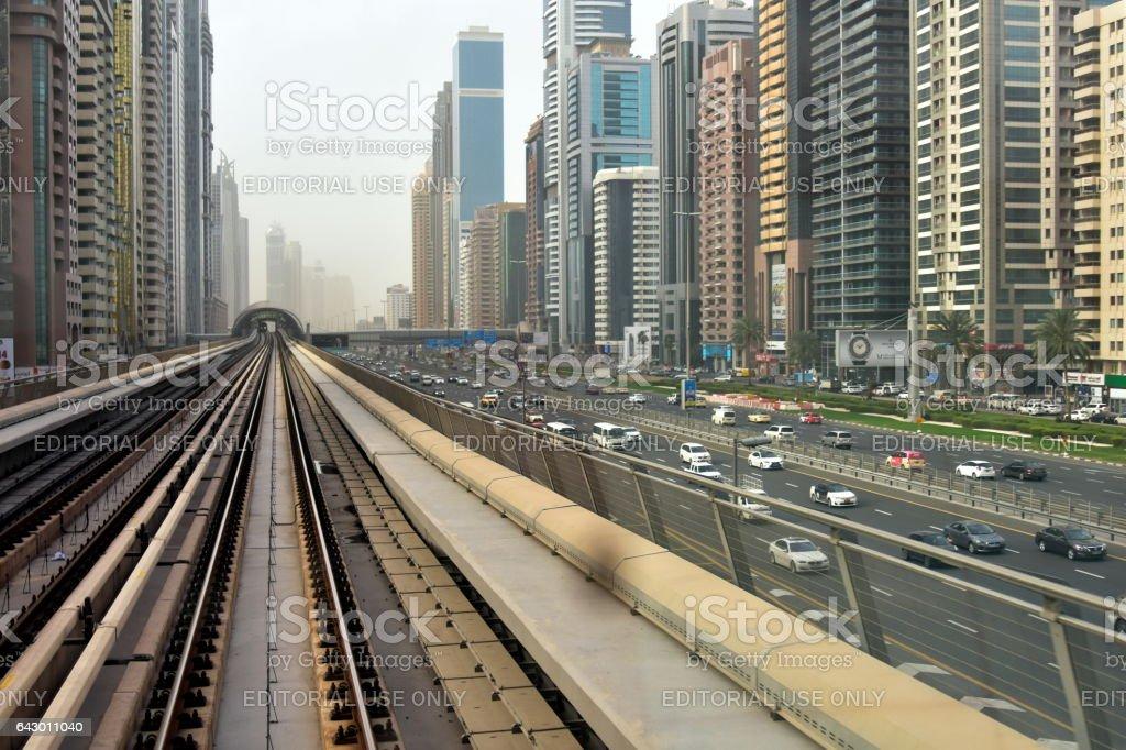 Dubai, United Arab Emirates - February 11, 2017, Dubai Metro stock photo