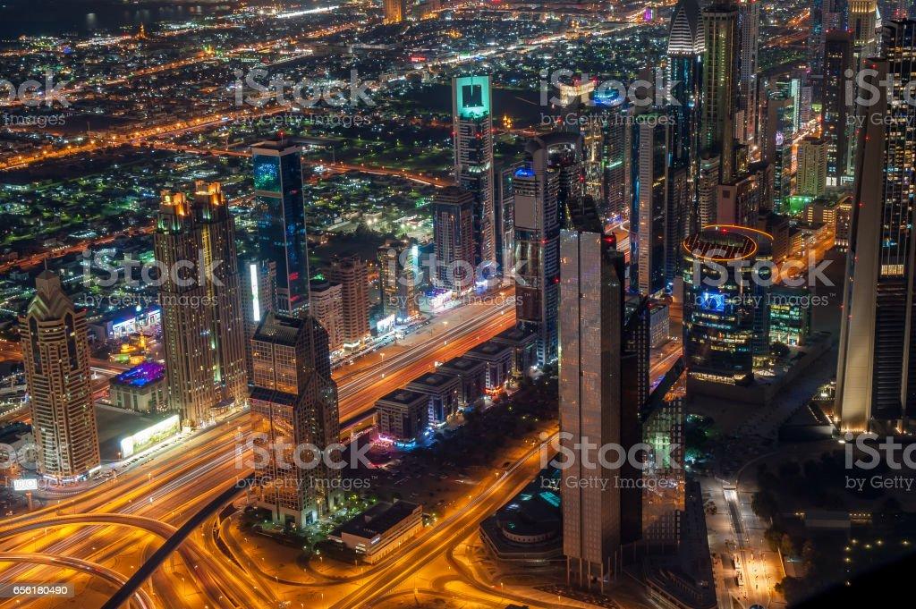 Dubai, view from Burj Khalifa, Sheykh Zayed road stock photo