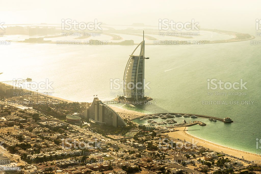Dubai with Burj Al Arab landmark stock photo