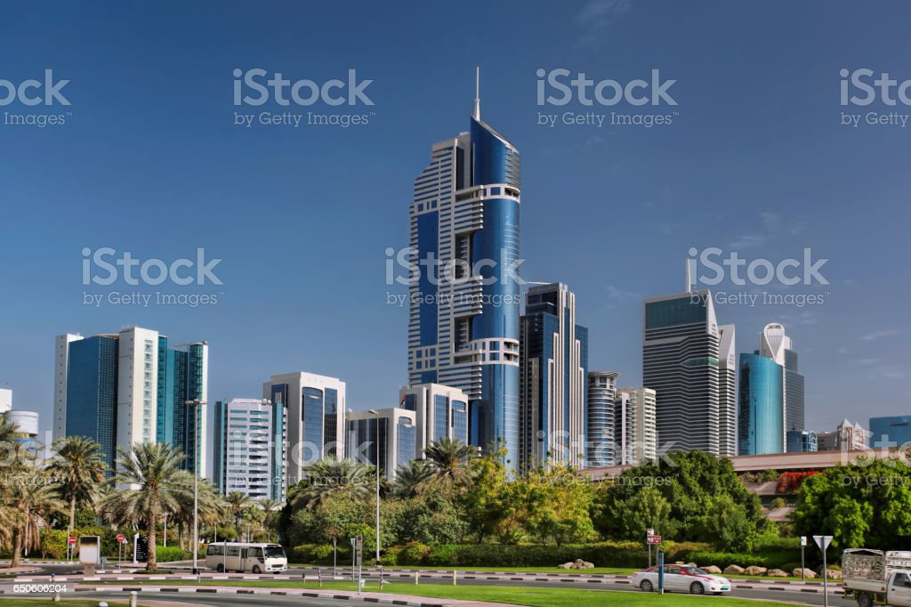 Dubai with skyscrapers in United Arab Emirates stock photo