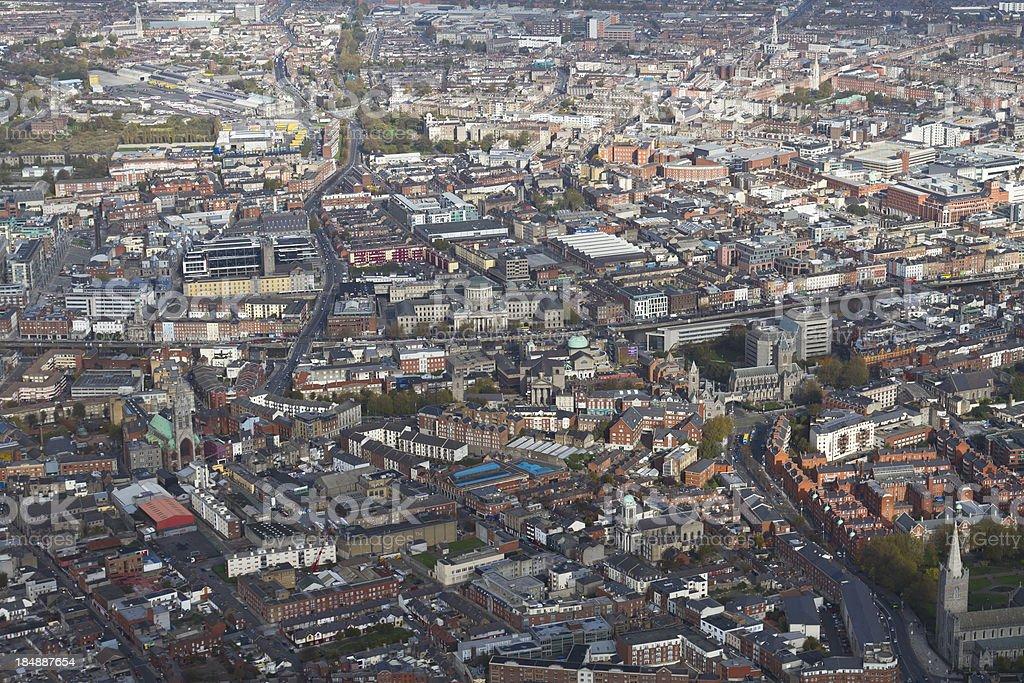 Dublin aerial shot. stock photo