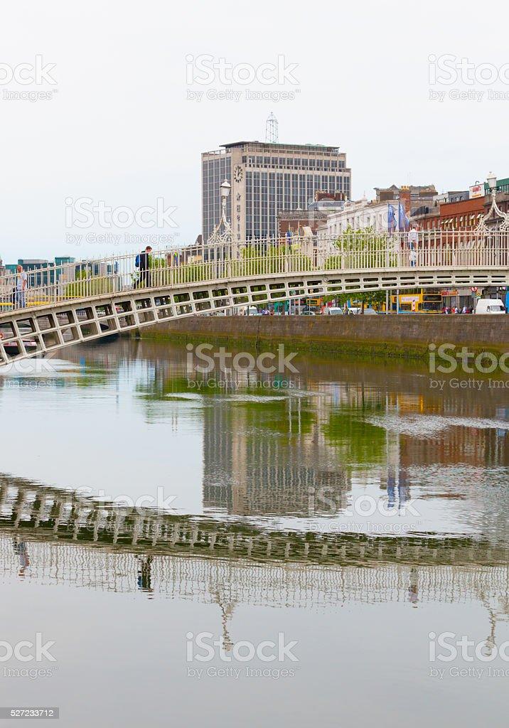 Dublin and Ha'Penny Bridge stock photo