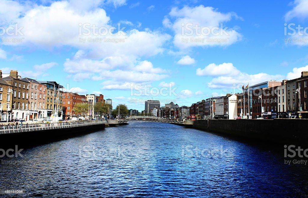 Dublin City and Liffey River, Ireland stock photo