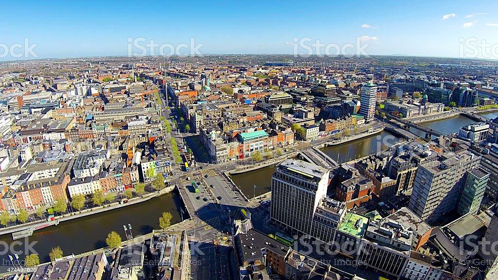 Dublin city center, O'Connell bridge and street stock photo