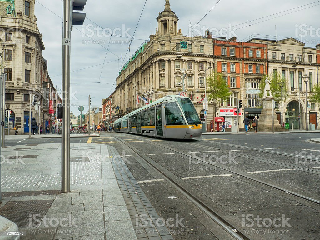 Dublin city center with tram stock photo