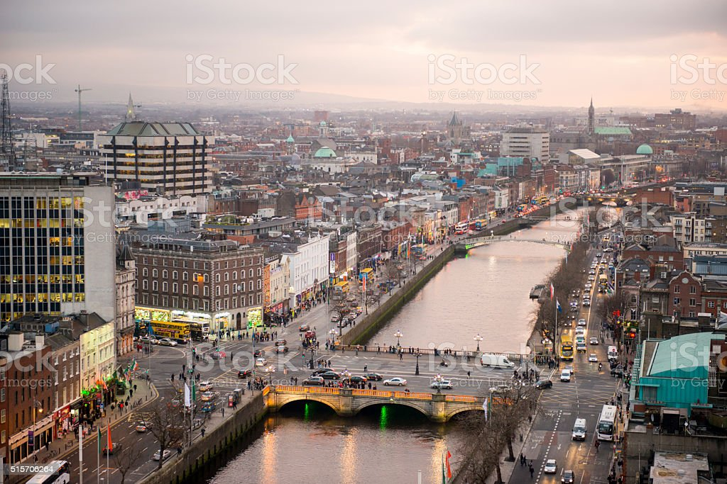 Dublin city centre at sunset stock photo