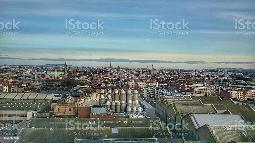 Dublin City Skyline with Wicklow Mountains in the background stock photo