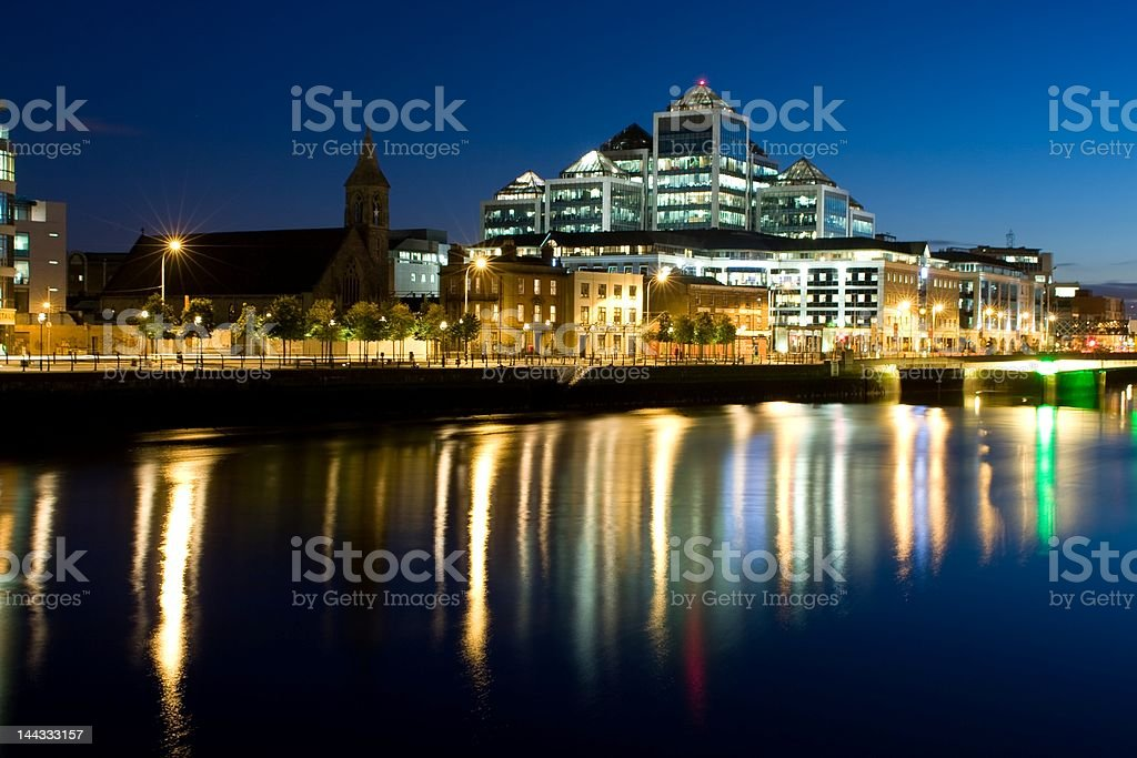 Dublin Docklands at Night stock photo