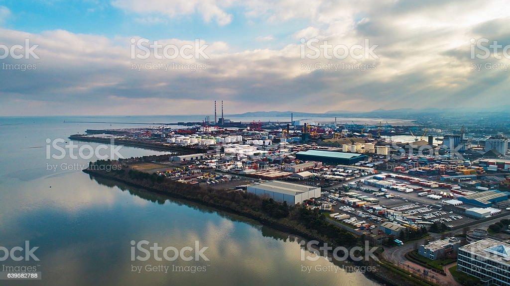 Dublin docks area aerial view stock photo