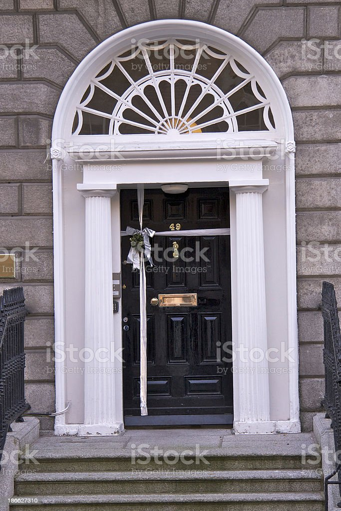 Dublin door at Christmas; gift wrapping royalty-free stock photo