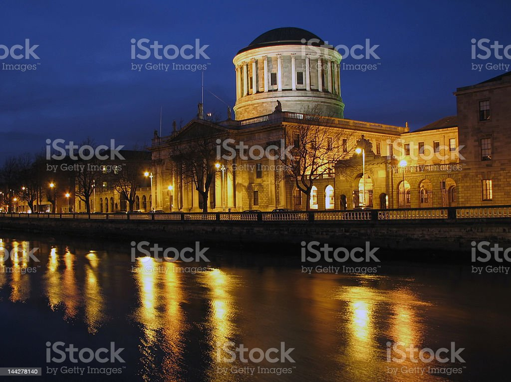 Dublin Four Courts By Night stock photo