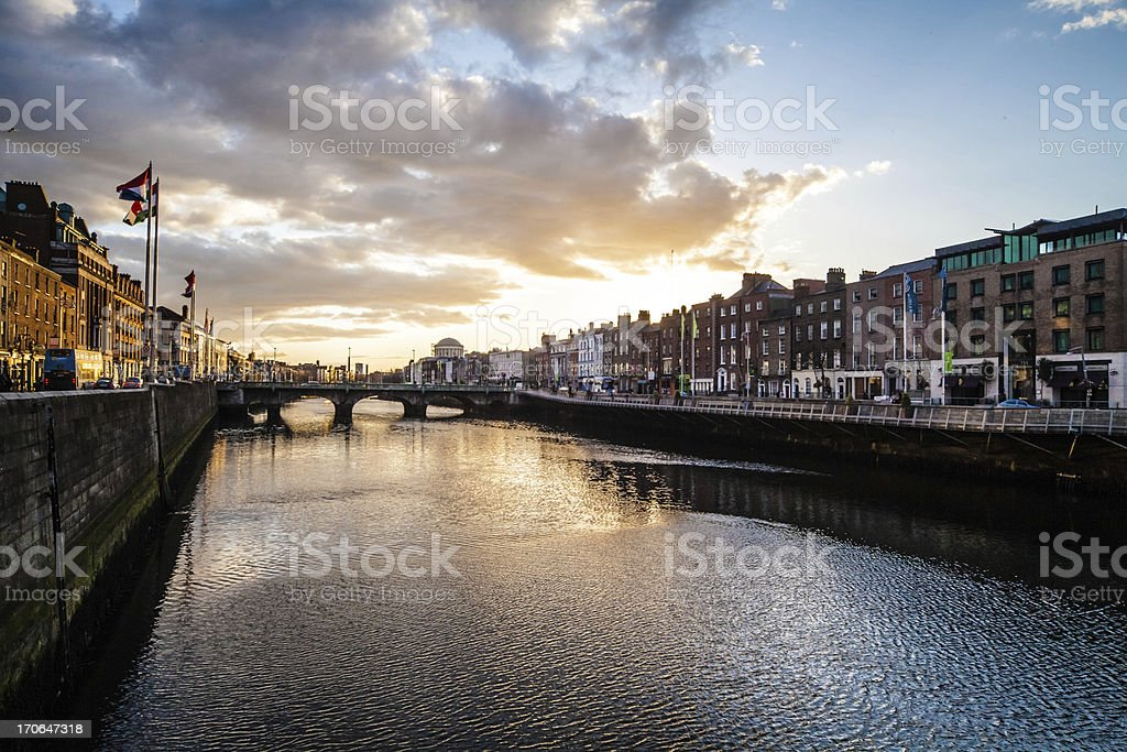 Dublin,  Liffey River at Sunset stock photo