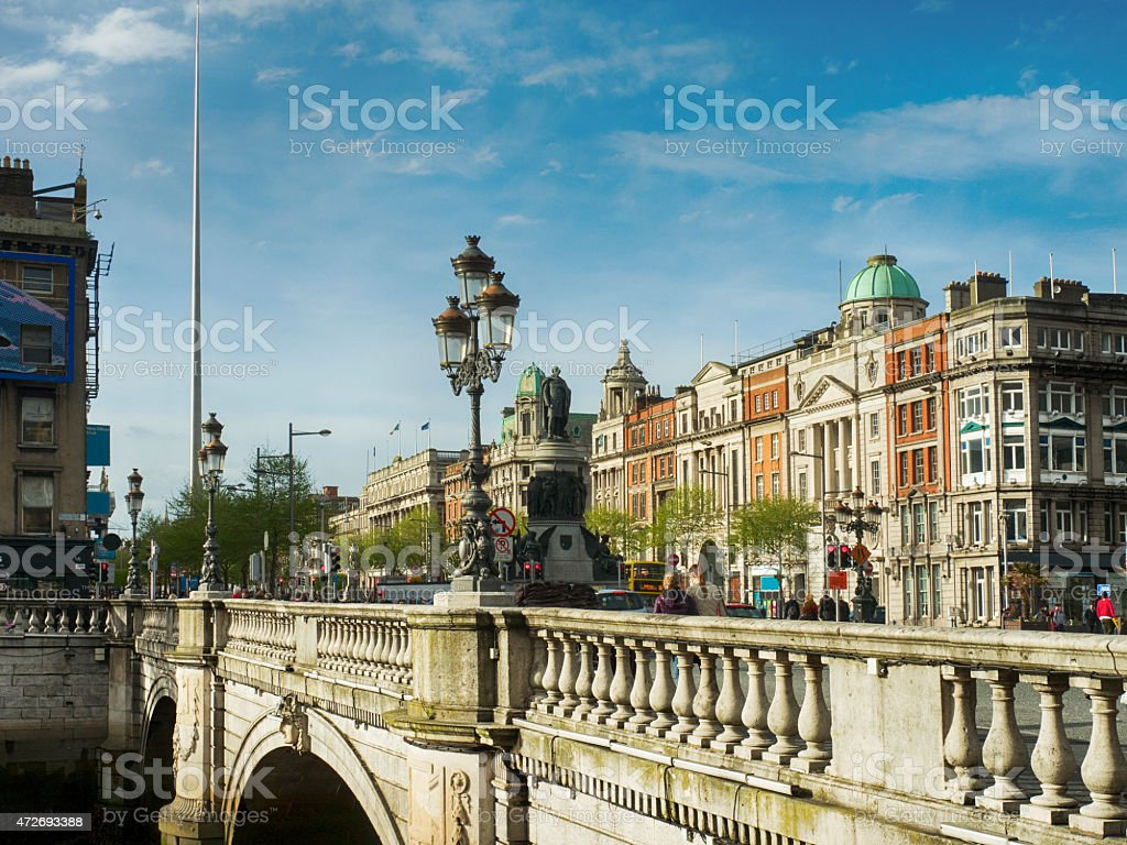 Dublin O'Connell bridge and monument stock photo