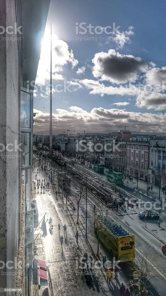 Dublin O'Connell Street in a snowstorm stock photo