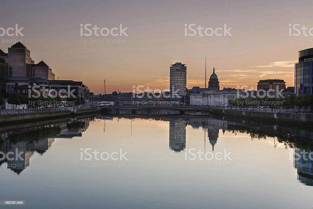 Dublin Panorama with Custom House stock photo