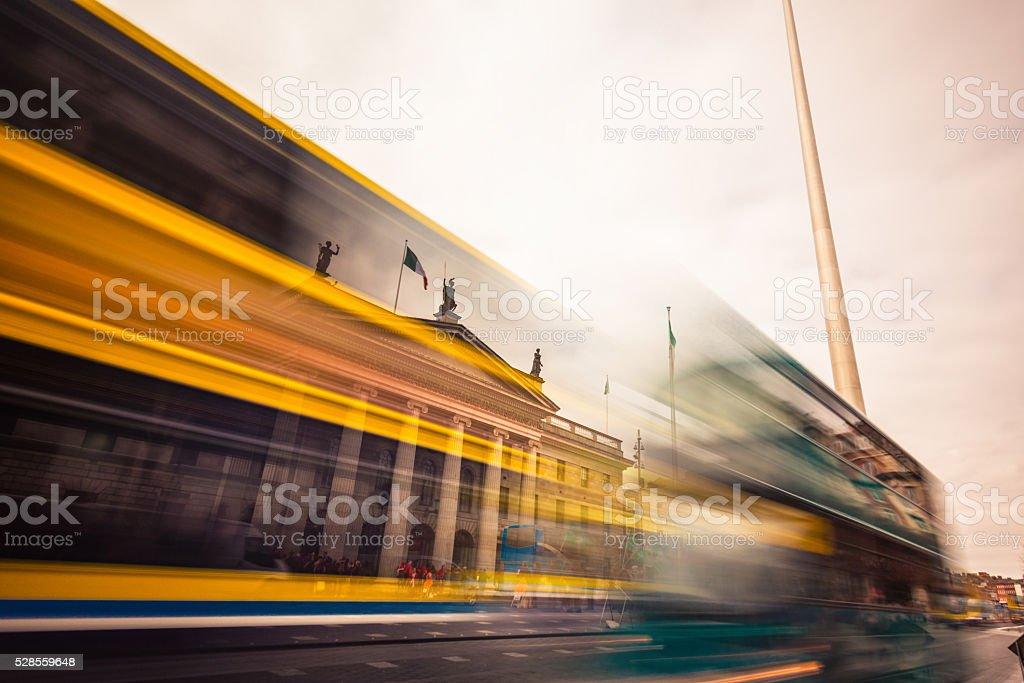 Dublin tour buses stock photo