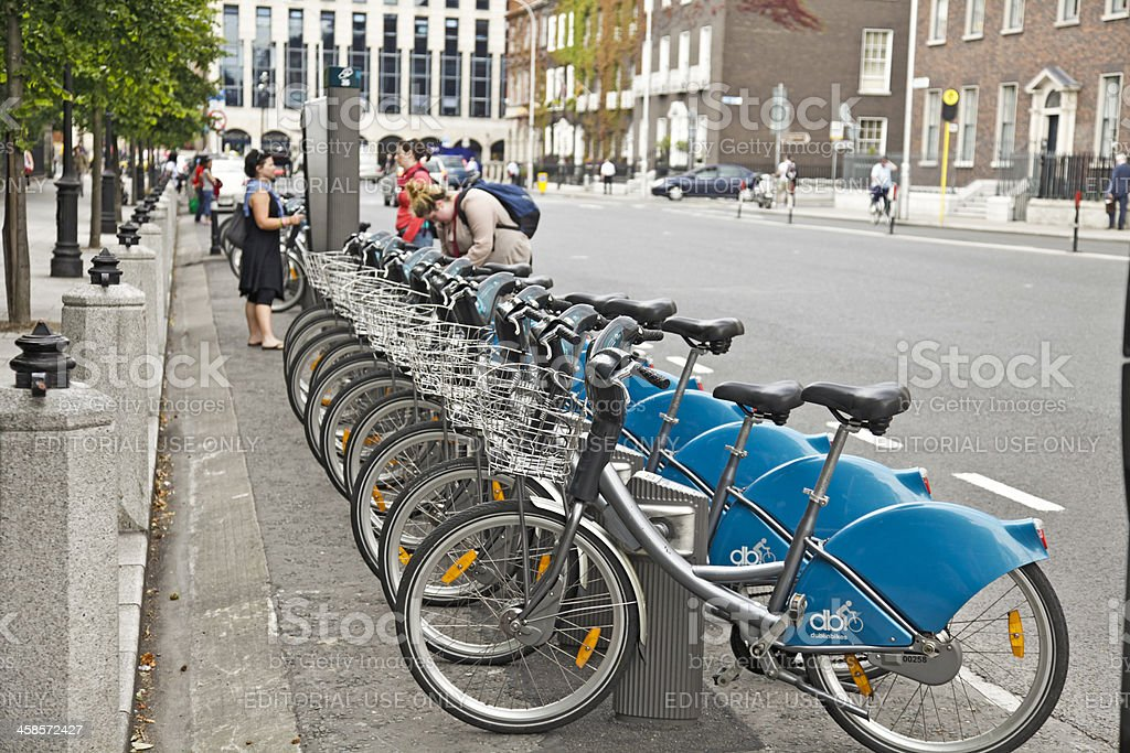 Dublinbikes hire station at St Stephen's Green in central Dublin. stock photo