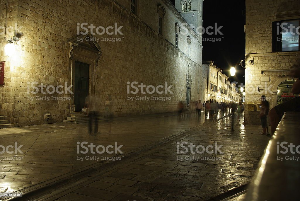 Dubrovnik at night stock photo
