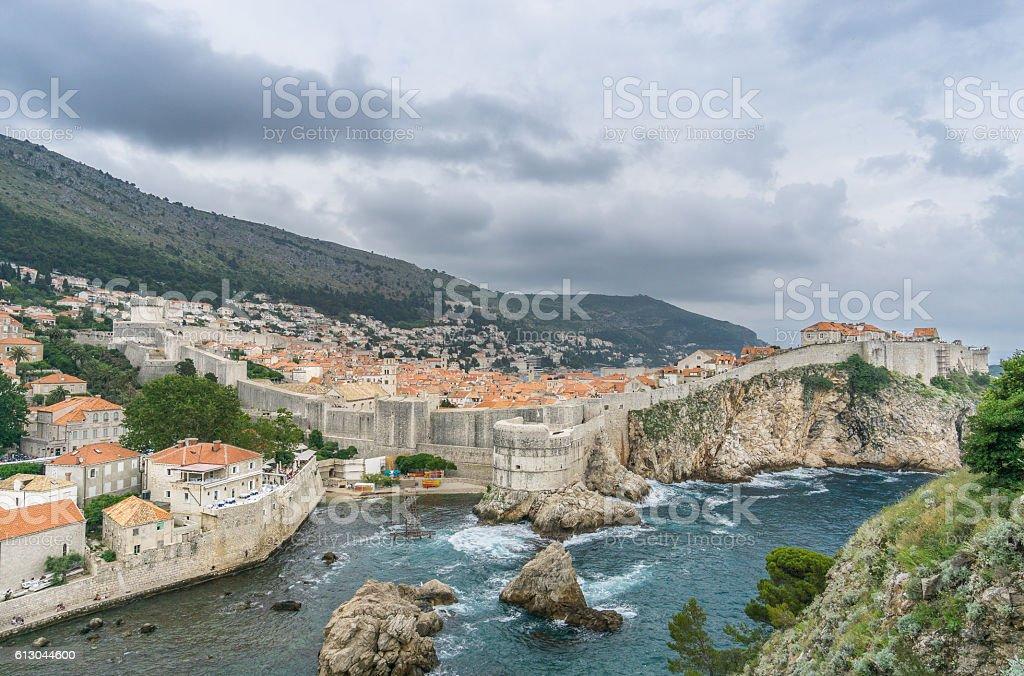 Dubrovnik City Walls from Fort Lovrijenac stock photo
