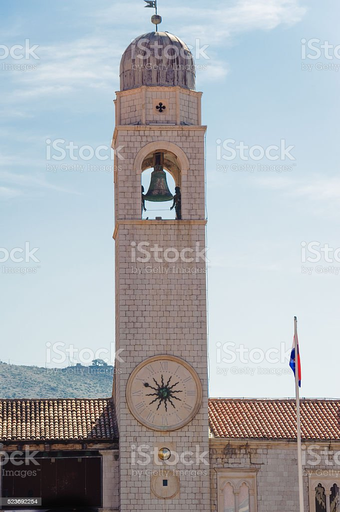 Dubrovnik clock tower stock photo