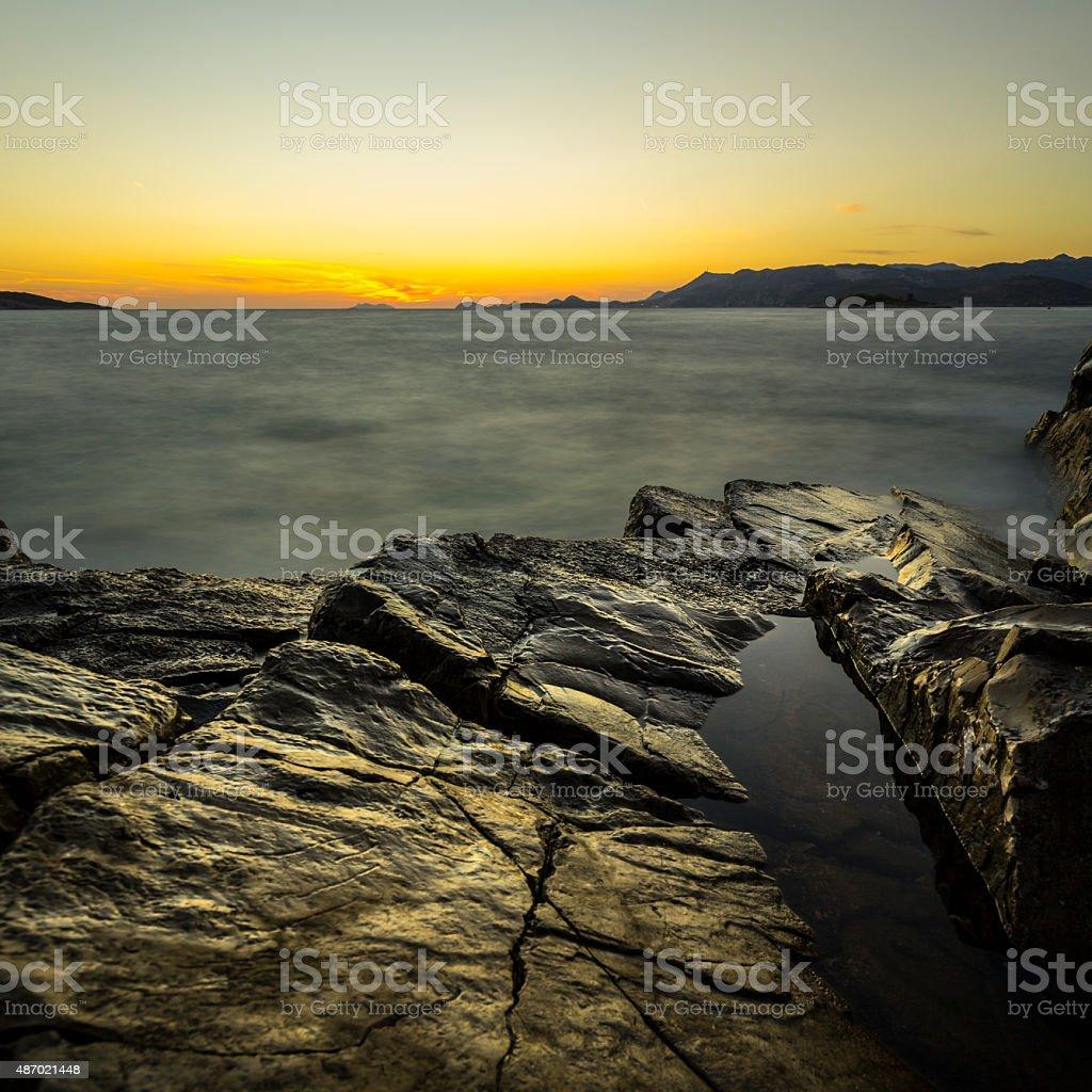 Dubrovnik coastline in Croatia at sunset stock photo
