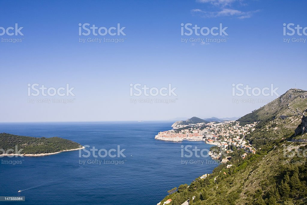 Dubrovnik, croatia. old city and shoreline. view from the east stock photo