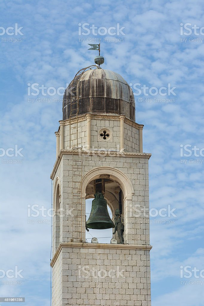 Dubrovnik famous clock tower in Luza Square stock photo