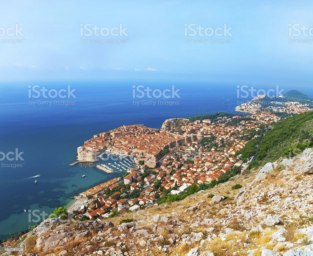Dubrovnik from the mountain stock photo