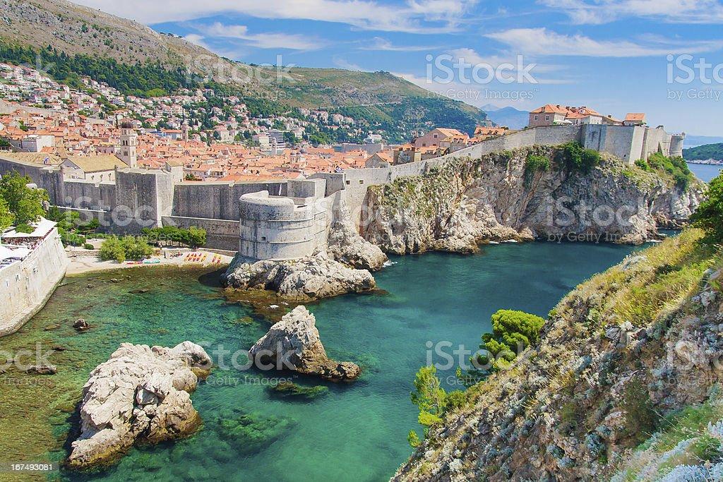 Dubrovnik in Croatia, Scenic view on city walls stock photo