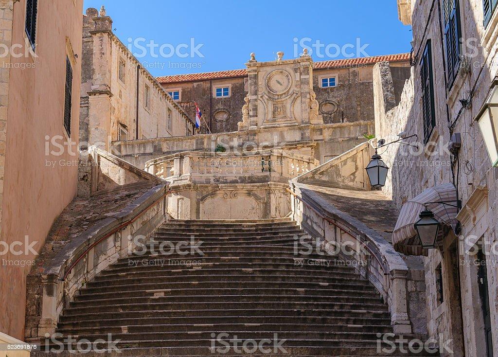Dubrovnik Jesuit Church staircase stock photo